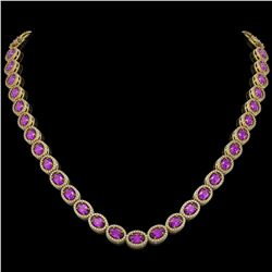 29.38 CTW Amethyst & Diamond Halo Necklace 10K Yellow Gold - REF-503K5W - 40441