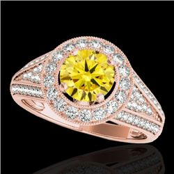 1.7 CTW Certified Si/I Fancy Intense Yellow Diamond Solitaire Halo Ring 10K Rose Gold - REF-233A6X -