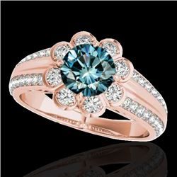 1.5 CTW Si Certified Fancy Blue Diamond Solitaire Halo Ring 10K Rose Gold - REF-171W6F - 34474