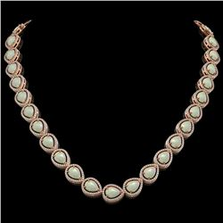 36.48 CTW Opal & Diamond Halo Necklace 10K Rose Gold - REF-685N6Y - 41202