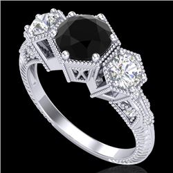 1.66 CTW Fancy Black Diamond Solitaire Art Deco 3 Stone Ring 18K White Gold - REF-123W3F - 38052