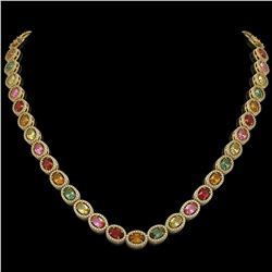 31.96 CTW Multi Color Sapphire & Diamond Halo Necklace 10K Yellow Gold - REF-674A4X - 40450