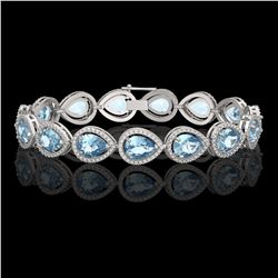 19.85 CTW Aquamarine & Diamond Halo Bracelet 10K White Gold - REF-423X3T - 41258