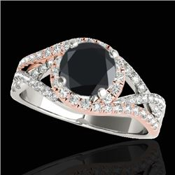 2 CTW Certified VS Black Diamond Solitaire Halo Ring 10K White & Rose Gold - REF-94F9N - 33843