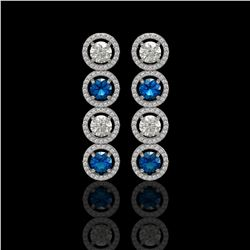 5.42 CTW Blue & White Diamond Designer Earrings 18K White Gold - REF-685T3M - 42593