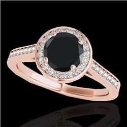 1.33 CTW Certified VS Black Diamond Solitaire Halo Ring 10K Rose Gold - REF-68M9H - 33512