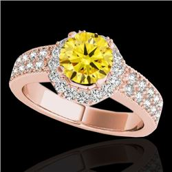 1.4 CTW Certified Si/I Fancy Intense Yellow Diamond Solitaire Halo Ring 10K Rose Gold - REF-172N5Y -