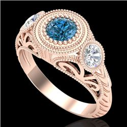 1.06 CTW Fancy Intense Blue Diamond Art Deco 3 Stone Ring 18K Rose Gold - REF-154Y5K - 37496