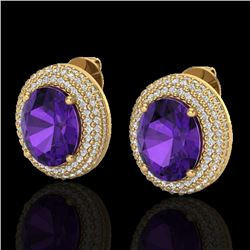 8 CTW Amethyst & Micro Pave VS/SI Diamond Earrings 18K Yellow Gold - REF-150N5Y - 20213