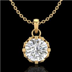 0.85 CTW VS/SI Diamond Art Deco Stud Necklace 18K Yellow Gold - REF-138M4H - 36841