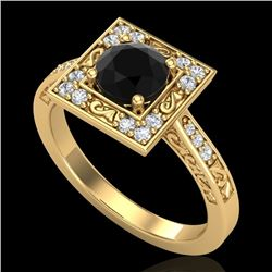 1.1 CTW Fancy Black Diamond Solitaire Engagement Art Deco Ring 18K Yellow Gold - REF-100H2A - 38152