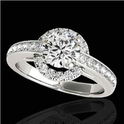 1.5 CTW H-SI/I Certified Diamond Solitaire Halo Ring 10K White Gold - REF-176M4H - 33927