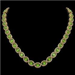48.14 CTW Peridot & Diamond Halo Necklace 10K Yellow Gold - REF-756M5H - 40582