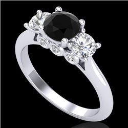 1.5 CTW Fancy Black Diamond Solitaire Art Deco 3 Stone Ring 18K White Gold - REF-136W4F - 38262