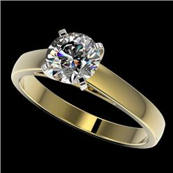 1.25 CTW Certified H-SI/I Quality Diamond Solitaire Engagement Ring 10K Yellow Gold - REF-191A3X - 3