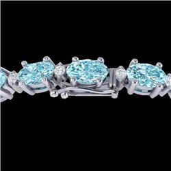 25.8 CTW Sky Blue Topaz & VS/SI Certified Diamond Eternity Bracelet 10K White Gold - REF-118H4A - 29