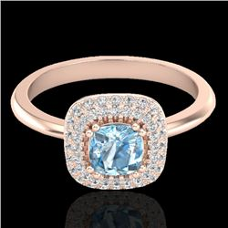 1.16 CTW Sky Blue Topaz & Micro VS/SI Diamond Ring Solitaire Halo 14K Rose Gold - REF-57K8W - 21022