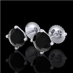 2 CTW Fancy Black Diamond Solitaire Art Deco Stud Earrings 18K White Gold - REF-52N8Y - 38241