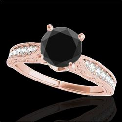 1.5 CTW Certified VS Black Diamond Solitaire Antique Ring 10K Rose Gold - REF-52H5A - 34733