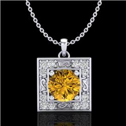 1.02 CTW Intense Fancy Yellow Diamond Art Deco Stud Necklace 18K White Gold - REF-143H6A - 38169