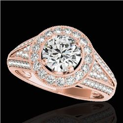 1.7 CTW H-SI/I Certified Diamond Solitaire Halo Ring 10K Rose Gold - REF-233W6F - 33968