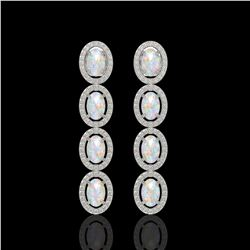 4.05 CTW Opal & Diamond Halo Earrings 10K White Gold - REF-112Y8K - 40517