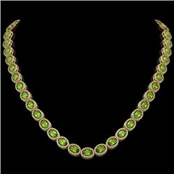 31.1 CTW Peridot & Diamond Halo Necklace 10K Yellow Gold - REF-554M8H - 40429