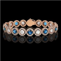 13.56 CTW Blue & White Diamond Designer Bracelet 18K Rose Gold - REF-3235T5M - 42591