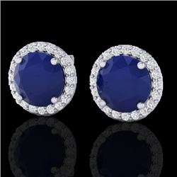 4 CTW Sapphire & Halo VS/SI Diamond Micro Pave Earrings Solitaire 18K White Gold - REF-67M3H - 21503