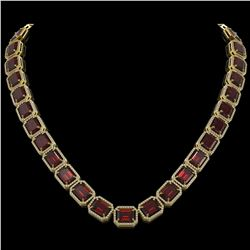 73.44 CTW Garnet & Diamond Halo Necklace 10K Yellow Gold - REF-696N2Y - 41521