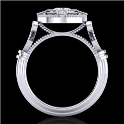 1.12 CTW VS/SI Diamond Art Deco Ring 18K White Gold - REF-250X2T - 36977