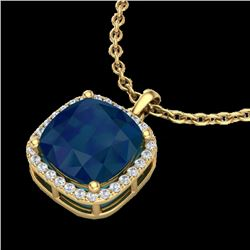 6 CTW Sapphire & Micro Pave Halo VS/SI Diamond Necklace 18K Yellow Gold - REF-85H5A - 23087
