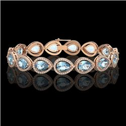 19.85 CTW Aquamarine & Diamond Halo Bracelet 10K Rose Gold - REF-423M3H - 41259