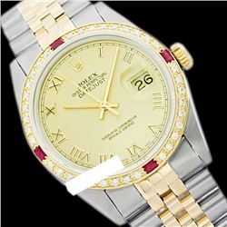 Rolex Ladies Two Tone 14K Gold/SS, Roman Dial & Diam/Ruby Bezel, Sapphire Crystal - REF-428T6K