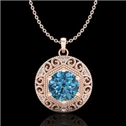 1.11 CTW Fancy Intense Blue Diamond Solitaire Art Deco Necklace 18K Rose Gold - REF-161X8T - 37566