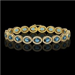 14.82 CTW London Topaz & Diamond Halo Bracelet 10K Yellow Gold - REF-232X5T - 40489