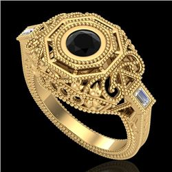 0.75 CTW Fancy Black Diamond Solitaire Engagement Art Deco Ring 18K Yellow Gold - REF-118K2W - 37816