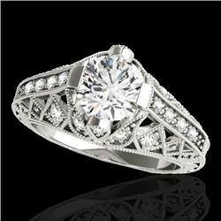 1.25 CTW H-SI/I Certified Diamond Solitaire Antique Ring 10K White Gold - REF-207K3W - 34684