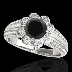 2.05 CTW Certified VS Black Diamond Solitaire Halo Ring 10K White Gold - REF-90Y8K - 34480