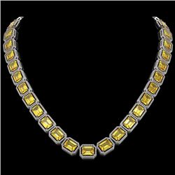 77.35 CTW Fancy Citrine & Diamond Halo Necklace 10K White Gold - REF-737W3F - 41516
