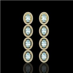 4.68 CTW Aquamarine & Diamond Halo Earrings 10K Yellow Gold - REF-115N6Y - 40528