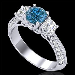 1.81 CTW Intense Blue Diamond Solitaire Art Deco 3 Stone Ring 18K White Gold - REF-236A4X - 38027