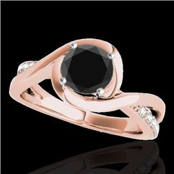 1.15 CTW Certified VS Black Diamond Solitaire Ring 10K Rose Gold - REF-57X3T - 34839