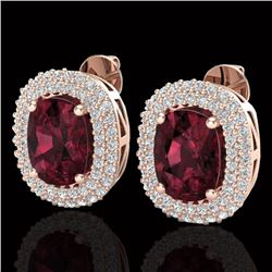 5.20 CTW Garnet & Micro Pave VS/SI Diamond Halo Earrings 10K Rose Gold - REF-97T5M - 20114