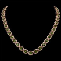 49.46 CTW Tourmaline & Diamond Halo Necklace 10K Rose Gold - REF-763K6W - 40575