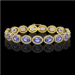 21.35 CTW Tanzanite & Diamond Halo Bracelet 10K Yellow Gold - REF-353A6X - 40612