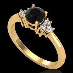 0.75 CTW Fancy Black Diamond Solitaire Engagement Classic Ring 18K Yellow Gold - REF-70T9M - 37585