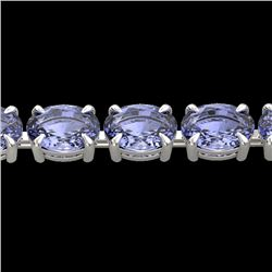 24 CTW Tanzanite Eternity Designer Inspired Tennis Bracelet 14K White Gold - REF-218Y2K - 23395