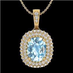 3 CTW Blue Topaz & Micro Pave VS/SI Diamond Halo Necklace 10K Yellow Gold - REF-65A5X - 20406