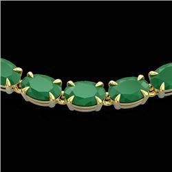40 CTW Emerald Eternity Tennis Necklace 14K Yellow Gold - REF-254F5N - 23374